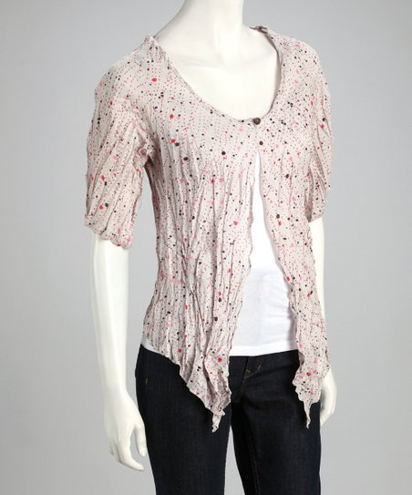 Light Gray Crinkle Dot Half-Sleeve Cardigan