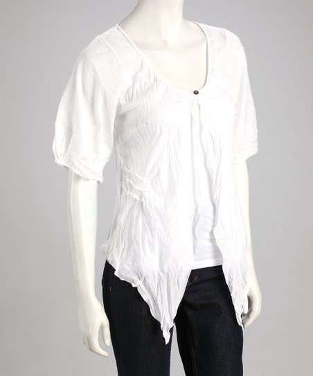 White Crinkle Half-Sleeve Cardigan