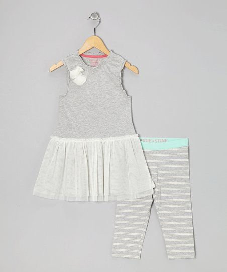 Heather Gray Gardenia Tunic & Leggings - Girls