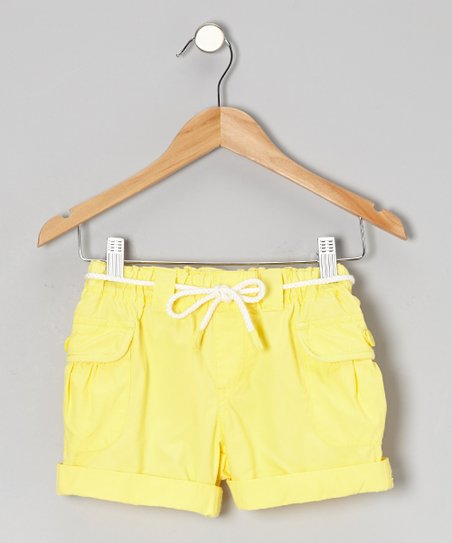 Light Yellow Mini Ripstop Shorts - Girls