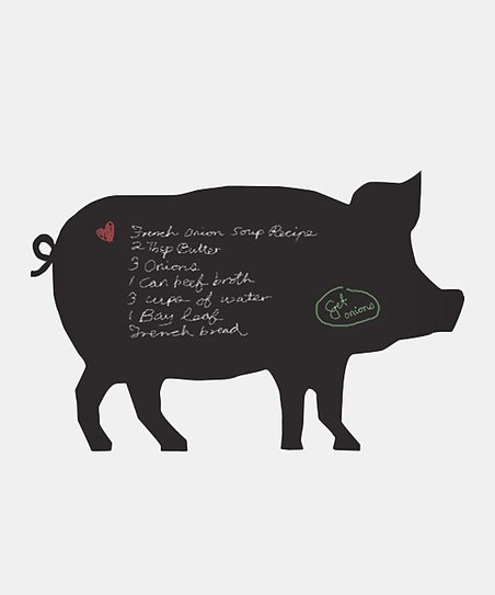 Black Piggy Chalkboard Wall Decal