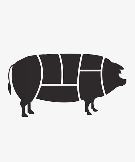 Black Pork Primal Cut Diagram Wall Decal