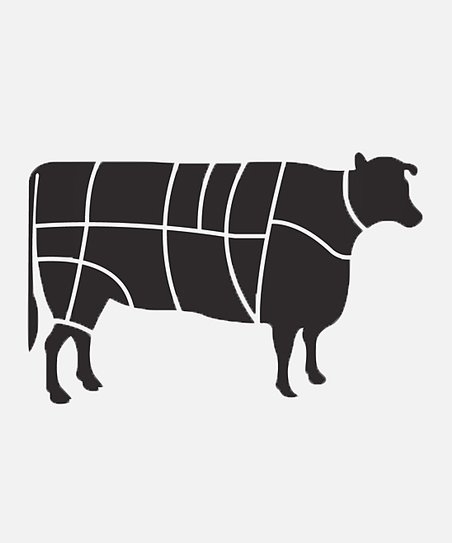 Black Beef Primal Cut Diagram Wall Decal