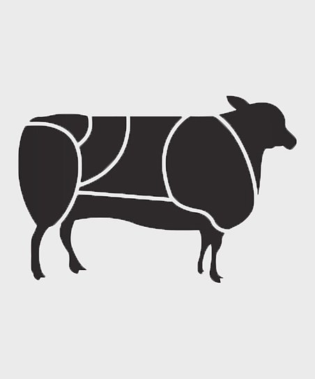 Black Lamb Primal Cut Diagram Wall Decal