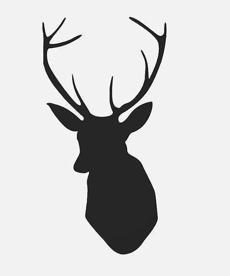 Black Deer Head Wall Decal
