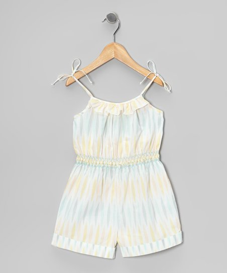 White & Pastel Ruffle Smocked Romper - Toddler & Girls