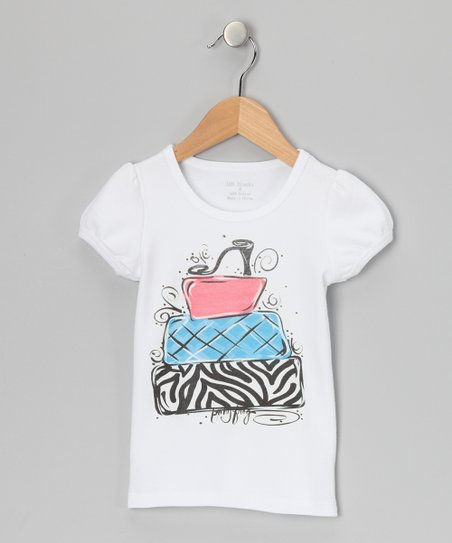 White & Pink Zebra Shoe Tee - Infant, Toddler & Girls