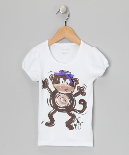 White &amp; Brown Monkey Tee - Infant, Toddler &amp; Girls