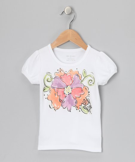 White & Peach Flower Tee - Infant, Toddler & Girls