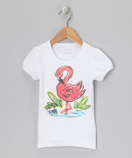 White & Pink Flamingo Tee - Infant, Toddler & Girls
