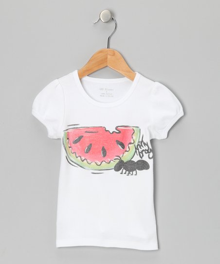 White & Red Watermelon Tee - Infant, Toddler & Girls