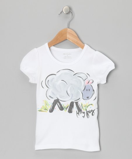 White & Gray Lamb Tee - Infant, Toddler & Girls