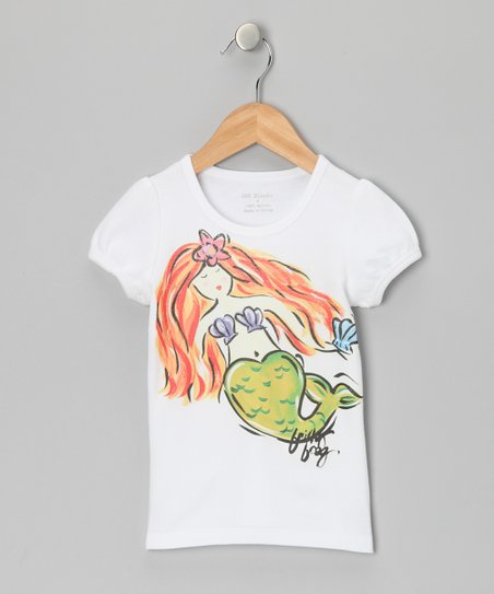 White & Lime Mermaid Tee - Infant, Toddler & Girls
