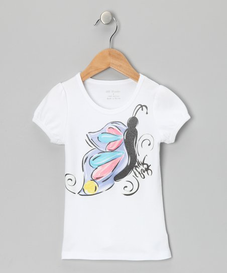 White & Lavender Butterfly Tee - Infant, Toddler & Girls