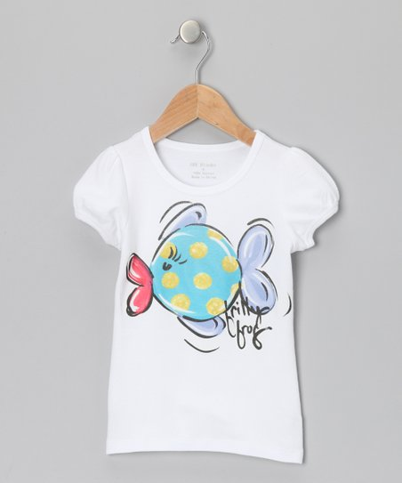 White & Blue Funny Fish Tee - Infant, Toddler & Girls