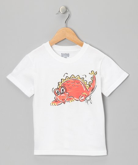 White & Orange Dinosaur Tee - Infant, Toddler & Boys