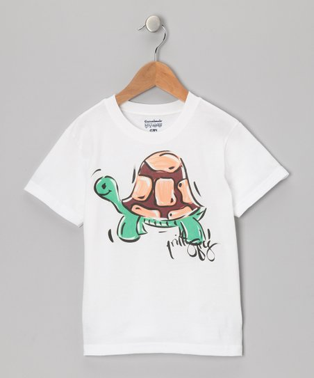 White & Green Turtle Tee - Infant, Toddler & Boys