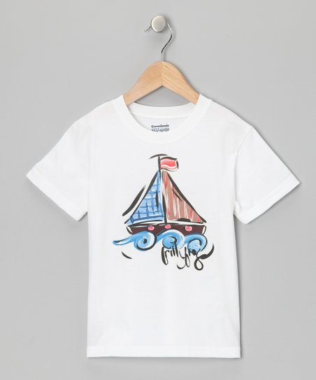 White &amp; Blue Sailboat Tee - Infant, Toddler &amp; Boys