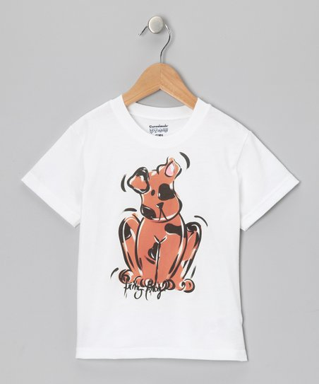 White & Brown Puppy Tee - Infant, Toddler & Boys