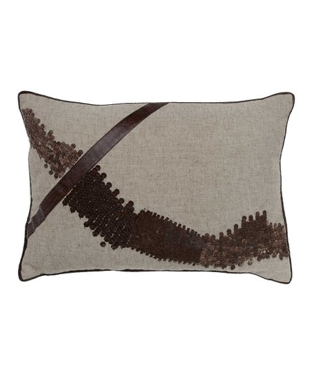 Wheat &amp; Brown Slope Leather Lumbar Pillow
