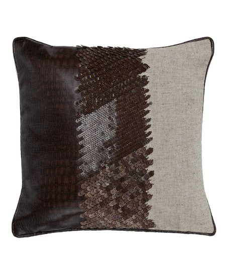 Wheat & Brown Leather Pillow