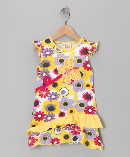 Yellow Blossom Butterfly Dress - Toddler & Girls
