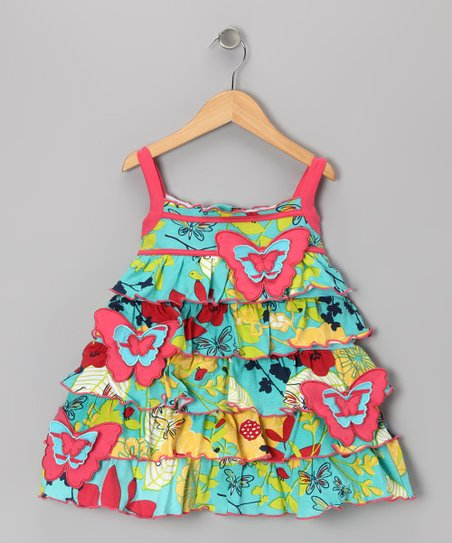 Blue Butterfly Garden Dress - Toddler & Girls