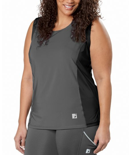 Charcoal Color Block Tank - Plus