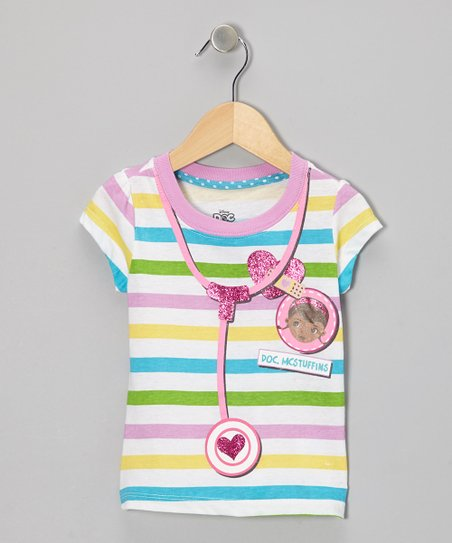 Rainbow Stripe Doc McStuffins Doctor Tee - Toddler & Girls