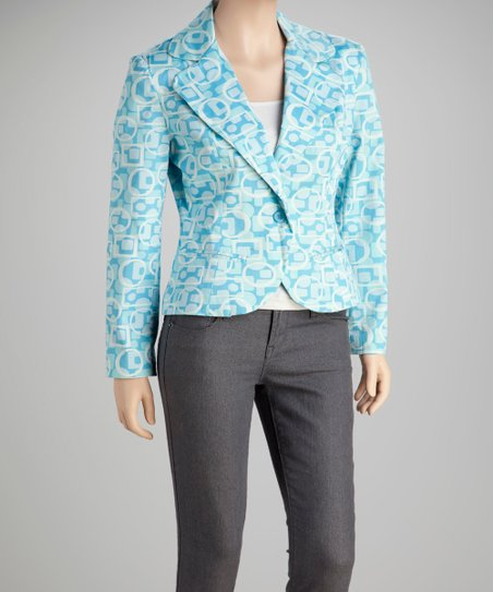 Turquoise Abstract Blazer