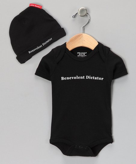 Black 'Benevolent Dictator' Bodysuit & Beanie - Infant