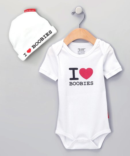 White I Love Boobies Bodysuit & Beanie - Infant