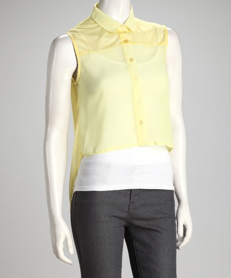 Yellow Sheer Hi-Low Button-Up