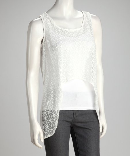 White Sheer Embroidered Exaggerated Hi-Low Tank