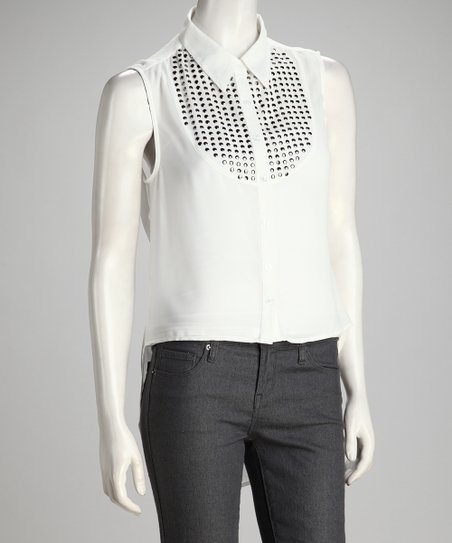 White Sheer Studded Sleeveless Hi-Low Button-Up