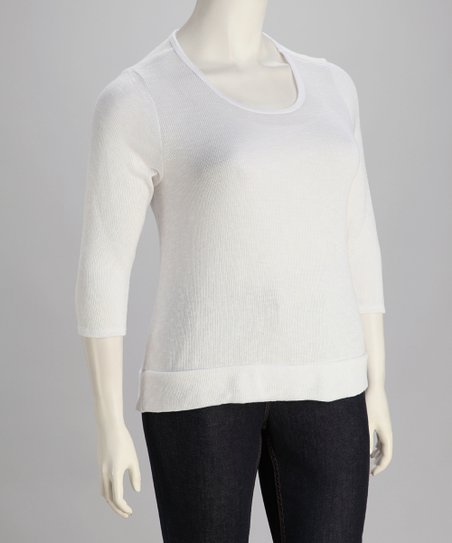 White Split-Back Scoop Neck Sweater - Plus