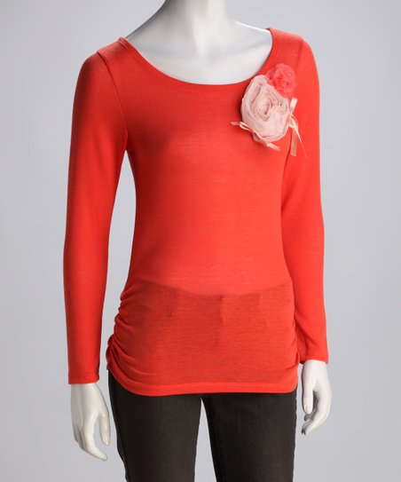 Coral Ruched Rosette Top