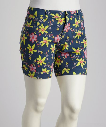 Blue Floral Plus-Size Shorts
