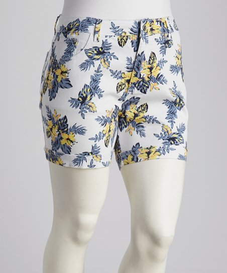 White Floral Plus-Size Shorts