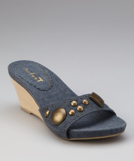 Dark Blue Canvas Shona Wedge