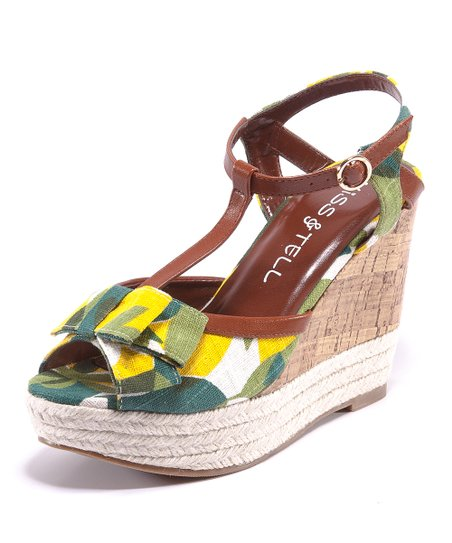 Yellow Floral Eliana T-Strap Wedge