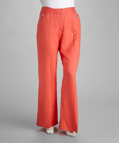Coral Linen-Blend Plus-Size Pants