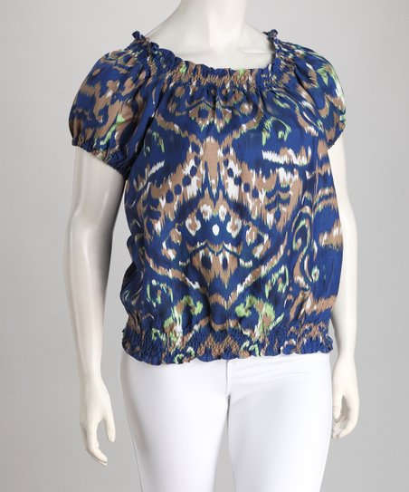 Blue Rorschach Linen-Blend Plus-Size Peasant Top