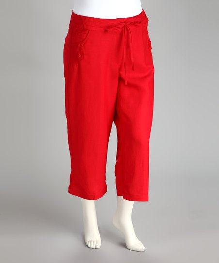 Red Linen-Blend Plus-Size Capri Pants