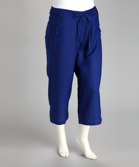 Royal Blue Linen-Blend Capri Pants