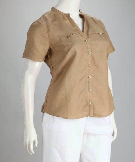 Khaki Linen-Blend Plus-Size Button-Up Top