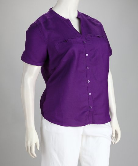 Purple Linen-Blend Plus-Size Button-Up Top