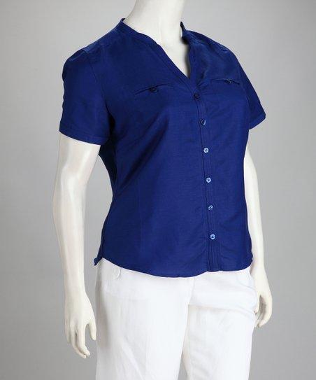 Royal Blue Linen-Blend Plus-Size Button-Up Top