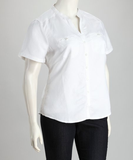White Linen-Blend Plus-Size Button-Up Top