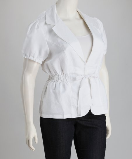 White Shirred Linen-Blend Plus-Size Short-Sleeve Jacket